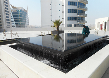 The water feature at Fakhroo Tower.