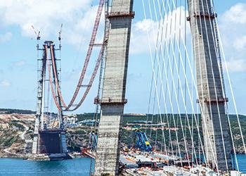 The third Bosphorus Bridge has the highest concrete bridge piers in the world.