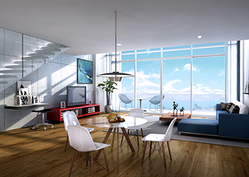 Each unit features floor-to-ceiling windows that offer expansive views.