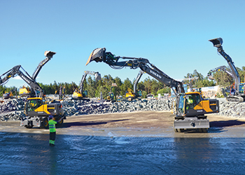 Volvo machines at the demo area at the Volvo Days event in Sweden.