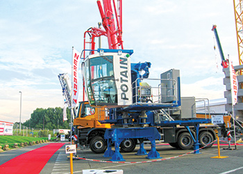 A Potain crane on display at Matexpo.