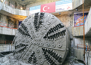 A Herrenknecht TBM at work on the Bosphorus project.