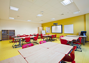 Ideal choice ... Around 7,500 sq m of Thermatex Antaris ceilings were fitted in all the classrooms and the library.
