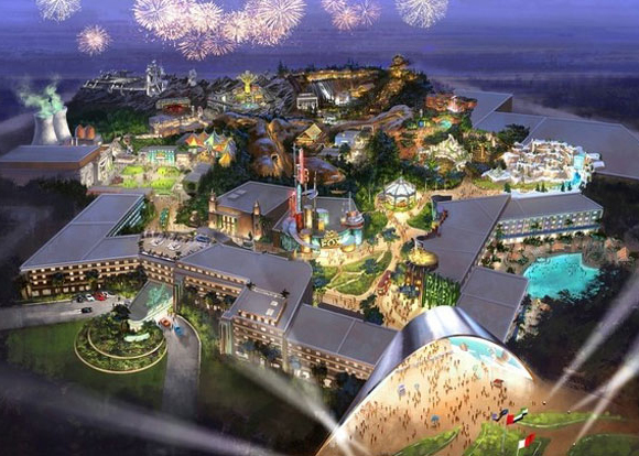 A rendering of the theme park.