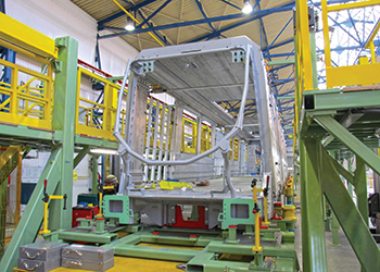 The first metro car taking shape at Alstom's plant in Poland.