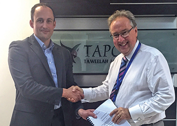Christopher Behan, general manager of Doosan Babcock UAE, with Tim Clarke, executive managing director of Tapco.