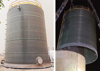 The tank has a capacity of 500 cu m. RIGHT: The massive tank is erected into place.