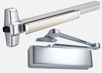 Allegion offers Von Duprin exit devices (left) and LCN door closers.