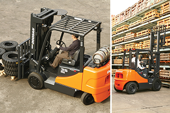 Doosan's pneumatic diesel forklift trucks ... part of the Lifting Equipment division's range.