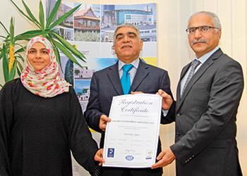 FROM LEFT: Faiza Hassan, operations supervisor AJA Europe, Dr Akbar Jaffari, chief executive, Jafcon, and Al Ansari.