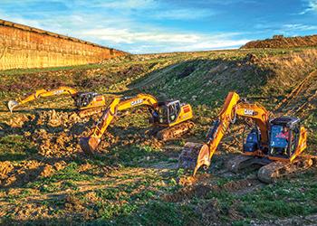 The CX180D, CX160D and CX130D crawler excavators.