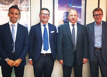 FROM LEFT: Falchetti, Anthony Tabone, president of Philip A Tabone, Allan Damen, vice-president of procurement of RDB-El Seif, and Arletti.