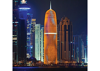 Doha Tower has the region's first high-speed panoramic elevators.