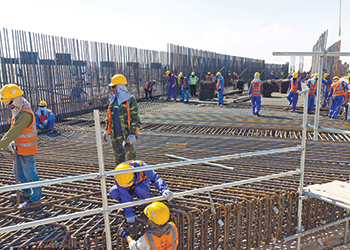 Base slab reinforcement is in progress on Al Wukair-Al Wakrah Bypass Interchange.