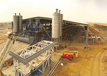 Overall view ... the three batching plants for hollowcore and precast production.
