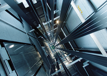 Kone UltraRope in an elevator-shaft.