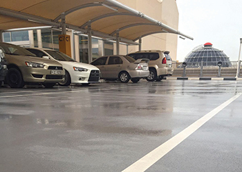 A car-park in Dubai after rainfall ... Deckshield protection.