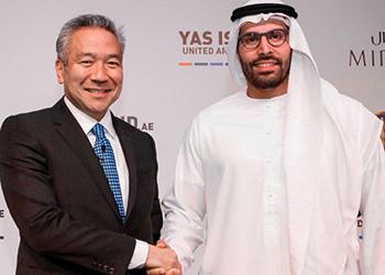 Kevin Tsujihara, chairman and CEO, Warner Bros Entertainment and Al Mubarak at the signing ceremony.