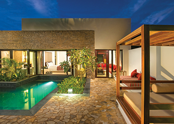 All the villas have their own swimming pools and gardens.