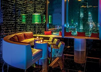 Sofitel Dubai Downtown ... vibrant lobby (left) and club lounge.