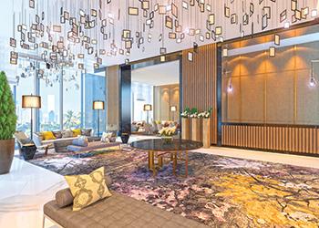 The main lobby at Vivanta by Taj Jumeirah Lake Towers... calming.
