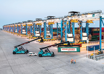Automatic stacking cranes at Khalifa Port in Abu Dhabi.
