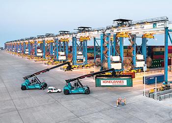 Automatic stacking cranes at Khalifa Port in Abu Dhabi.