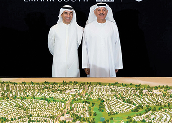 Alabbar and Khalifa Al Zaffin, executive chairman of Dubai Aviation City Corporation, at the launch of Emaar South.