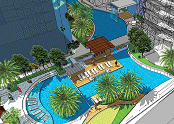Fontana Gardens ... boasts one of the largest pools in Bahrain.