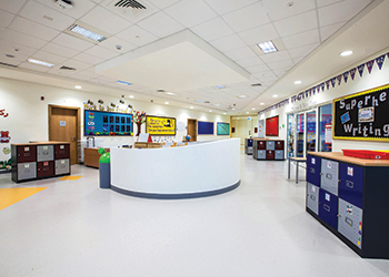 The school reception and a classroom (left).