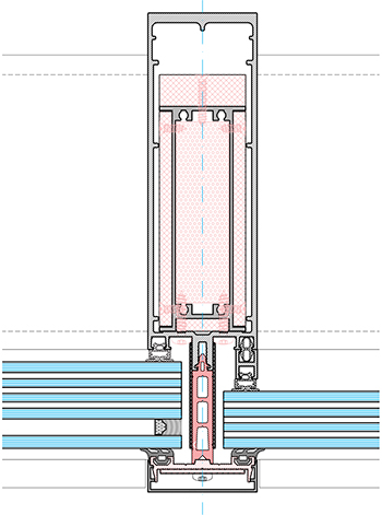 A horizontal section of the MX-FP curtain wall.
