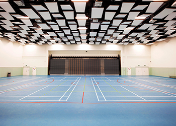 The sports hall at Al Mamoura academy ... ceiling rafts installed.