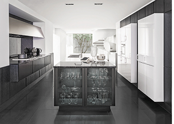 Bright white glossy cabinets with dark matte black cabinets ... striking.
