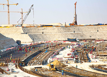 Construction advances on Al Bayt Stadium.