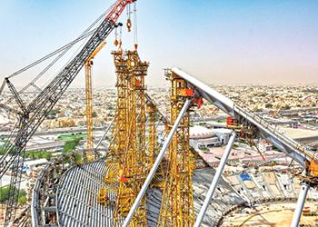 Fifa fever ... work under way on Khalifa International Stadium in Doha.