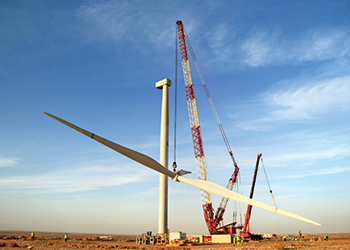 Haulage feat ... the giant wind turbine was transported 1,250 km and then lifted and installed at its destination.
