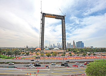 Dubai Frame in Za'abeel Park ... measuring 150 m high and 93 m wide, is slated for completion by the year-end.