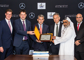 At the handover ... officials of Daimler and Suhail Al Mazroui.