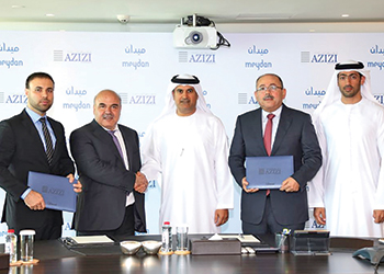 Officials at the signing ceremony ... the contracts will see two out of four phases in Meydan One developed this year.