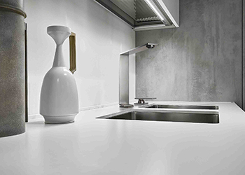 A contemporary steel faucet for the kitchen.