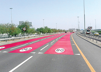 Degaroute used in road markings in Dubai.