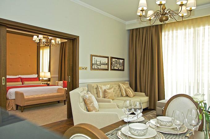 A model of Dukes Dubai Sky Collection apartments.