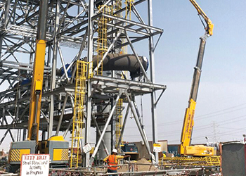 Haulotte machines at work in Jazan Refinery and Terminal.