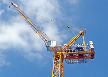 A Potain MCR 160 crane ... saves space and costs.